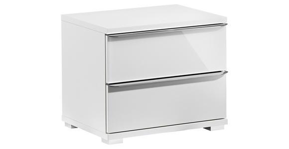 NACHTKÄSTCHEN in Weiß  - Chromfarben/Weiß, Design, Glas/Holzwerkstoff (51/44/40cm) - Moderano