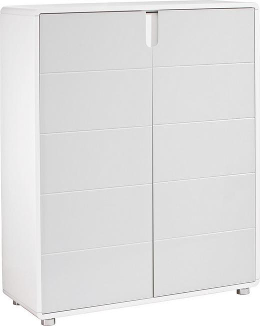 SCHUHSCHRANK Hochglanz Grau, Weiß - Weiß/Grau, Design, Holzwerkstoff (92,9/114/35cm) - Xora