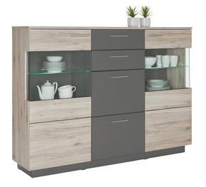 HIGHBOARD - alufärgad/svart, Design, glas/träbaserade material (179,8/131/41,3cm) - Hom`in