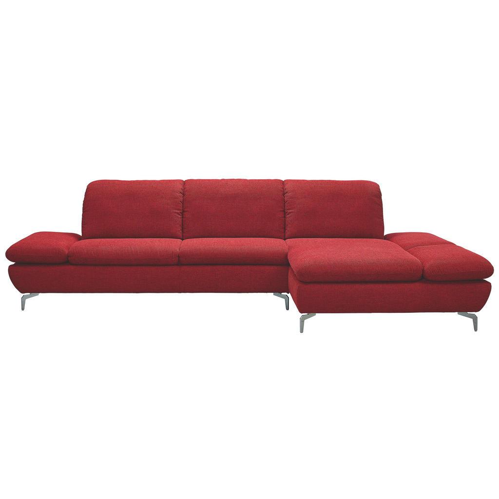 Chilliano Ecksofa Chenille Rücken echt - Sitztiefenverstellung - Rot