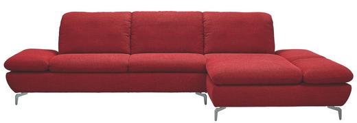 Ecksofa Chenille Rücken echt, Sitztiefenverstellung - Rot/Silberfarben, Design, Textil/Metall (315/200cm) - CHILLIANO