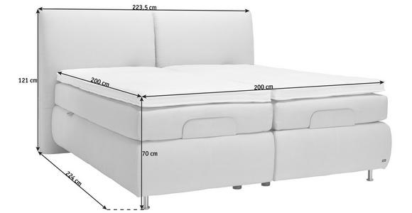 BOXSPRINGBETT 200/200 cm  in Beige  - Beige/Alufarben, KONVENTIONELL, Textil/Metall (200/200cm) - Dieter Knoll