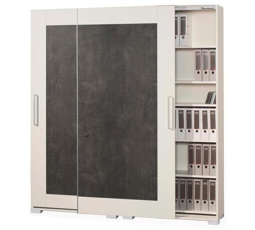 SCHRANK Grau, Weiß  - Weiß/Grau, Design, Holzwerkstoff/Metall (280/220,5/40cm) - Moderano