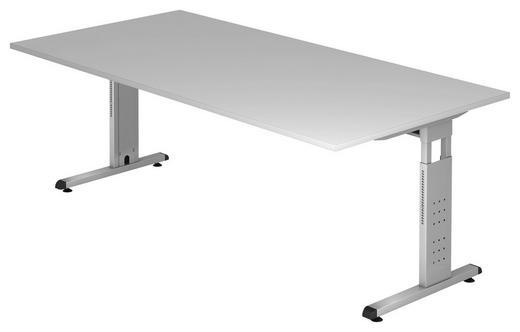 SCHREIBTISCH Grau - Silberfarben/Grau, KONVENTIONELL, Metall (200/65-85/100cm)