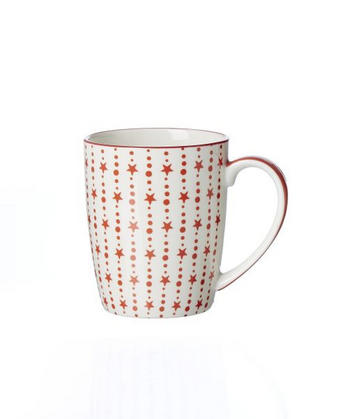KAFFEEBECHER 350 ml - Rot/Weiß, Basics, Keramik (8,5/10,5cm) - Landscape