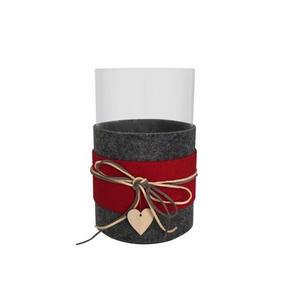 VÄRMELJUSGLAS - klar/röd, Klassisk, glas/träbaserade material (13,5/20,5cm) - Ambia Home