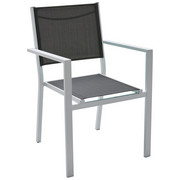 STAPELSESSEL Aluminium Weiß, Taupe - Taupe/Weiß, Design, Textil/Metall (55/86/61cm) - Ambia Garden