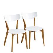 STUHL-SET Kautschukholz massiv Naturfarben, Weiß  - Weiß/Naturfarben, Design, Holz (42,8/78/54,2cm) - Xora