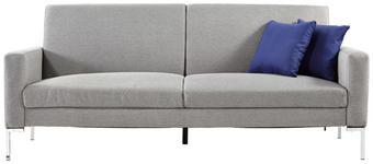 SOFA Grau - Edelstahlfarben/Dunkelblau, KONVENTIONELL, Textil/Metall (203/86/82cm) - Carryhome