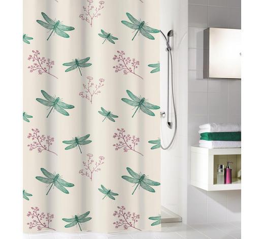 DUSCHVORHANG - Sandfarben/Smaragdgrün, KONVENTIONELL, Textil (180/200cm) - Kleine Wolke