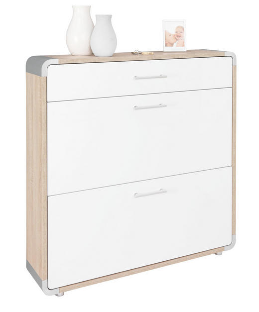 SCHUHSCHRANK Hochglanz Sonoma Eiche, Weiß - Silberfarben/Weiß, Design, Kunststoff (97/99,5/23,5cm) - Moderano