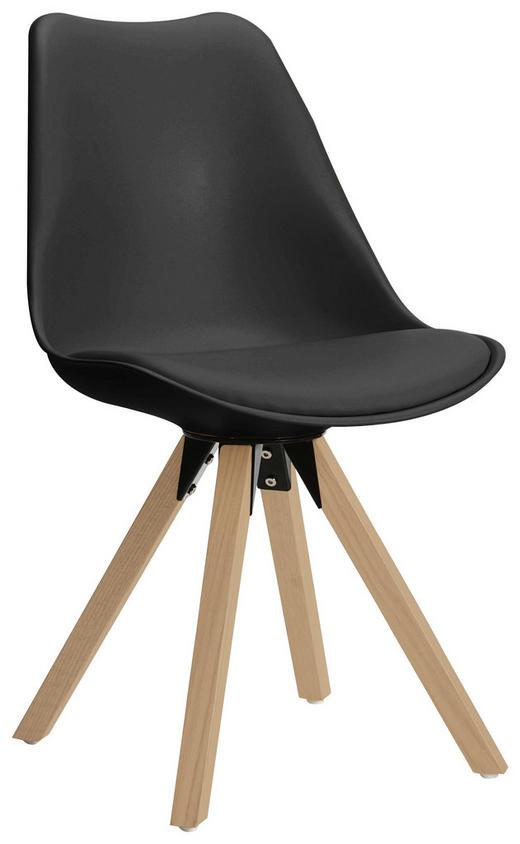 STUHL Lederlook Eiche massiv Eichefarben, Grau - Eichefarben/Grau, Design, Leder/Holz (48/82/56cm) - Carryhome