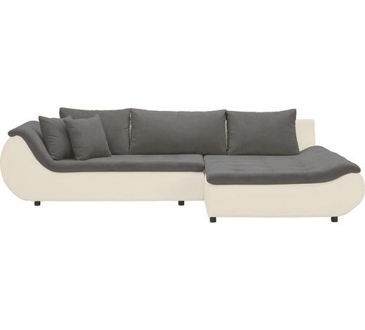 WOHNLANDSCHAFT in Textil Braun, Creme - Creme/Schwarz, Design, Kunststoff/Textil (310/185cm) - Carryhome