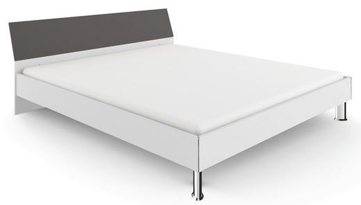 KINDER-/JUNIORBETT Grau, Weiß - Chromfarben/Weiß, Design, Holzwerkstoff (140/200cm) - WELNOVA