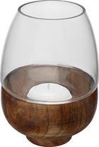 WINDLICHT - Dunkelbraun, Basics, Glas/Holz (11/15cm) - Ambia Home
