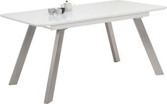 STOL ZA BLAGOVAONICU - bijela/boje oplemenjenog čelika, Design, staklo/drvni materijal (160(200)/90/76cm) - CARRYHOME