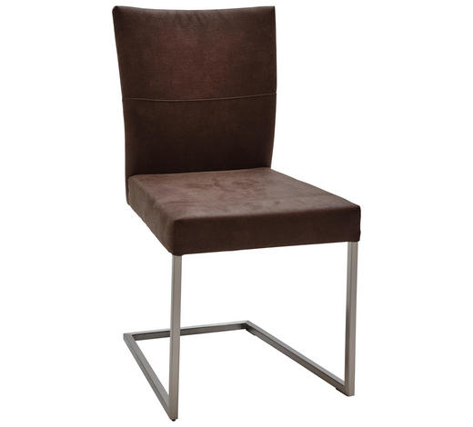 SCHWINGSTUHL in Metall, Textil Braun, Edelstahlfarben  - Edelstahlfarben/Braun, Design, Textil/Metall (48/91,5/67cm) - Dieter Knoll