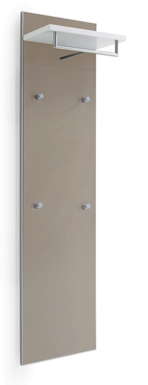 GARDEROBENPANEEL 42/170/27 cm - Taupe/Weiß, Design, Glas/Holzwerkstoff (42/170/27cm) - Novel