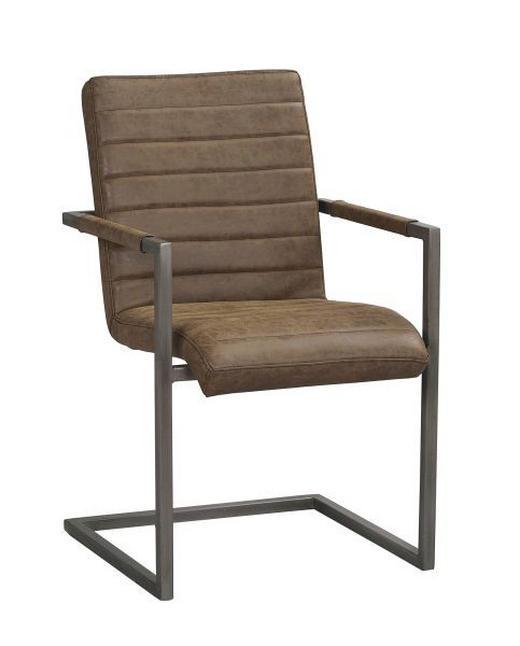 STOL - mörkbrun, Design, metall/textil (48/92/42cm) - ROWICO