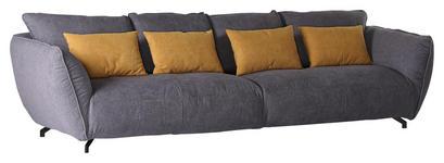 MEGASOFA in Textil Gelb, Grau  - Gelb/Schwarz, LIFESTYLE, Textil (320/80/125cm) - Carryhome