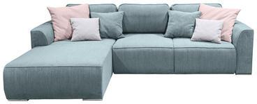 WOHNLANDSCHAFT in Textil, Holzwerkstoff Hellblau  - Pink/Silberfarben, Design, Holzwerkstoff/Kunststoff (206/294cm) - Carryhome