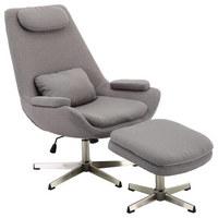 RELAXSESSELSET in Metall, Textil Grau - Grau/Nickelfarben, Design, Textil/Metall (74/107/84cm) - Xora