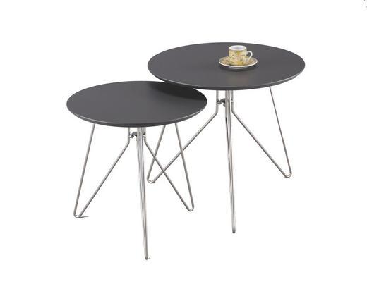 SATZTISCH rund Anthrazit, Nickelfarben - Anthrazit/Nickelfarben, Design, Metall (48/45/40/40cm) - Xora