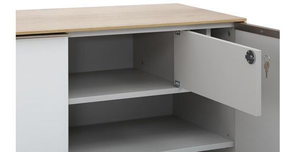 AKTENSCHRANK Weiß, Eichefarben  - Eichefarben/Weiß, Design, Glas/Holzwerkstoff (112,6/114/37,2cm) - Voleo