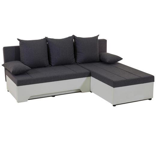 SEDEŽNA GARNITURA,  siva, bela les, tekstil  - siva/bela, Design, tekstil/les (200/160cm) - Boxxx