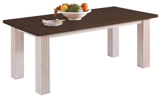 ESSTISCH Kiefer massiv rechteckig Weiß, Dunkelbraun - Dunkelbraun/Weiß, Design, Holz (180/90/74cm) - Carryhome