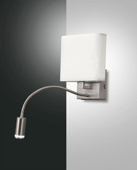 LED-WANDLEUCHTE - Weiß, KONVENTIONELL, Textil/Metall (39/20/18cm)