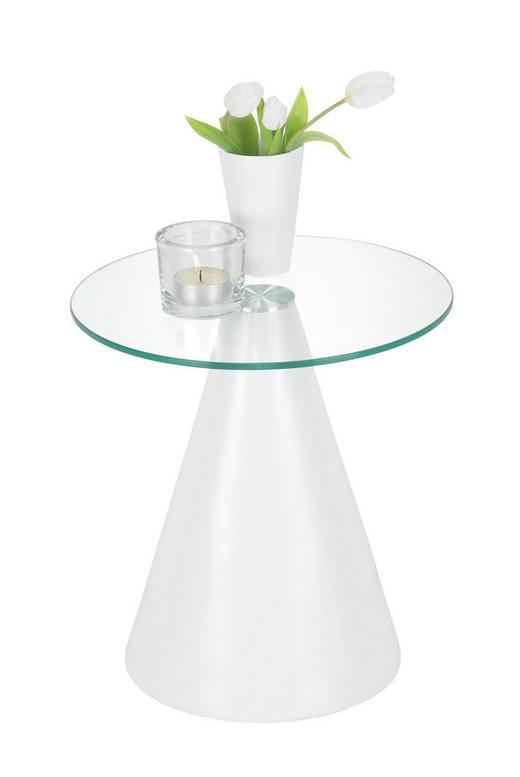 BEISTELLTISCH rund Weiß - Weiß, Design, Glas/Kunststoff (40/43/40cm) - Xora