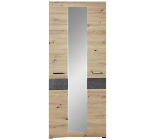 GARDEROBENSCHRANK 84/200/40 cm  - Eichefarben/Schwarz, Design, Glas/Holzwerkstoff (84/200/40cm) - Voleo