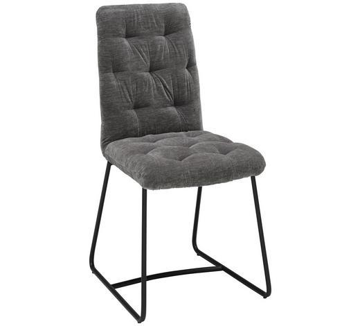Stuhl in Metall, Textil Grau, Schwarz  - Schwarz/Grau, Trend, Textil/Metall (47/91,5/63cm) - Ambia Home
