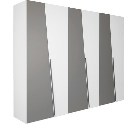 DREHTÜRENSCHRANK in Grau, Weiß  - Weiß/Grau, Basics, Holzwerkstoff/Metall (302,5/238,6/58,8cm) - Ambiente