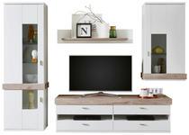 WOHNWAND in Weiß, Silbereichenfarben  - Silberfarben/Weiß, Design, Glas/Holzwerkstoff (286/208/52cm) - Xora