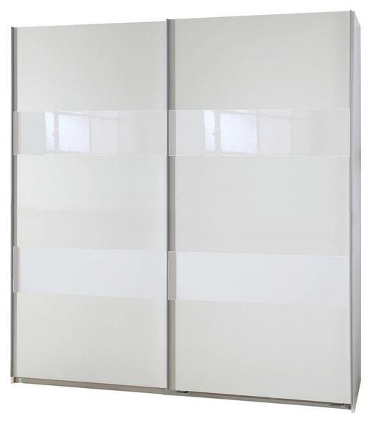 SCHWEBETÜRENSCHRANK 2-türig Weiß - Alufarben/Weiß, Design, Glas/Holzwerkstoff (180/198/64cm) - Carryhome