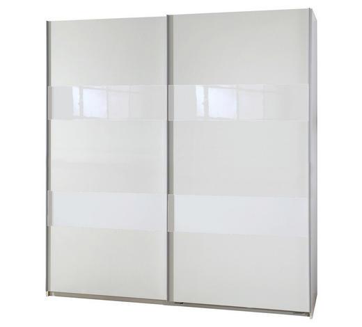 SCHWEBETÜRENSCHRANK in Weiß - Silberfarben/Weiß, Design, Glas/Holzwerkstoff (135/198/64cm) - Carryhome