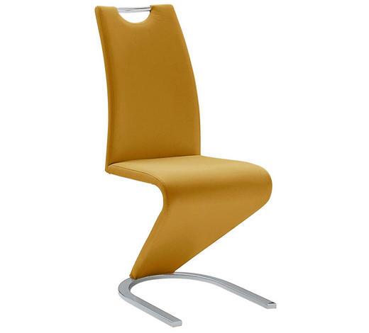 SCHWINGSTUHL in Metall, Textil Gelb, Chromfarben - Chromfarben/Gelb, Design, Textil/Metall (45/102/62cm)