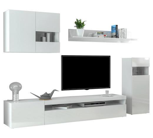 WOHNWAND Weiß  - Weiß, Design, Glas/Holzwerkstoff (250/180/40cm) - Carryhome