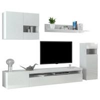 WOHNWAND in Weiß - Weiß, Design, Glas/Holzwerkstoff (250/180/40cm)