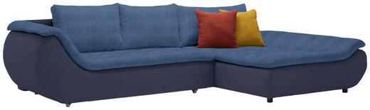 WOHNLANDSCHAFT in Textil Blau, Dunkelblau - Blau/Schwarz, Design, Kunststoff/Textil (310/185/cm) - Carryhome