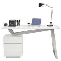 Schreibtisch - Edelstahlfarben/Weiß, Design, Holzwerkstoff/Metall (140/76/60cm) - Novel