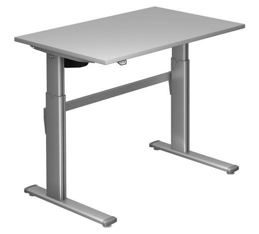 SCHREIBTISCH - Silberfarben/Grau, Design, Holzwerkstoff/Metall (120/72-119/80cm)