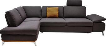 WOHNLANDSCHAFT in Textil Dunkelgrau - Dunkelgrau, Design, Textil/Metall (213/283cm) - Dieter Knoll
