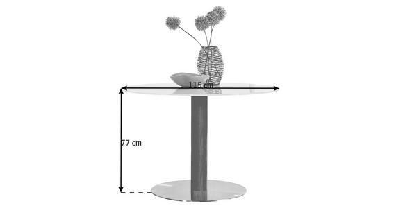 ESSTISCH in massiv Eiche Edelstahlfarben, Eichefarben, Weiß - Edelstahlfarben/Eichefarben, Design, Glas/Holz (115/77cm) - Dieter Knoll