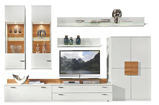 WOHNWAND Weiß - Schwarz/Weiß, Design, Glas/Holz (330/218/49cm) - Invivus