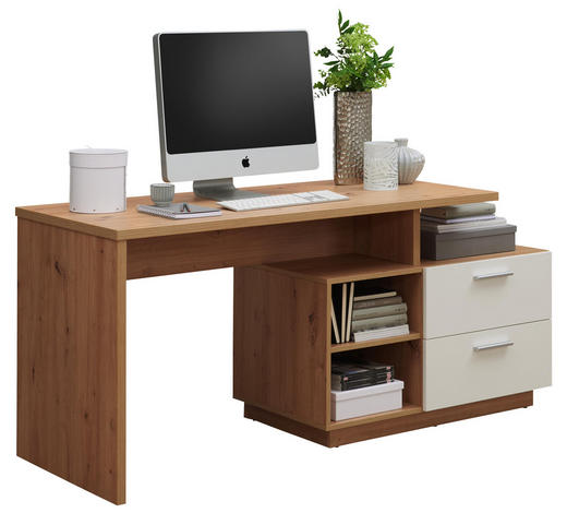 PSACÍ STŮL, bílá, barvy dubu - bílá/barvy stříbra, Konvenční, kompozitní dřevo/umělá hmota (166/75/60cm) - Xora