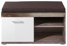GARDEROBENBANK Braun, Naturfarben, Weiß  - Chromfarben/Braun, LIFESTYLE, Textil/Metall (90/46/38cm) - Hom`in