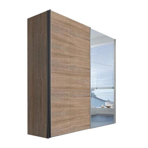 SCHWEBETÜRENSCHRANK 2-türig Sonoma Eiche - Alufarben/Sonoma Eiche, KONVENTIONELL, Glas/Holzwerkstoff (200/216/68cm) - Hom`in